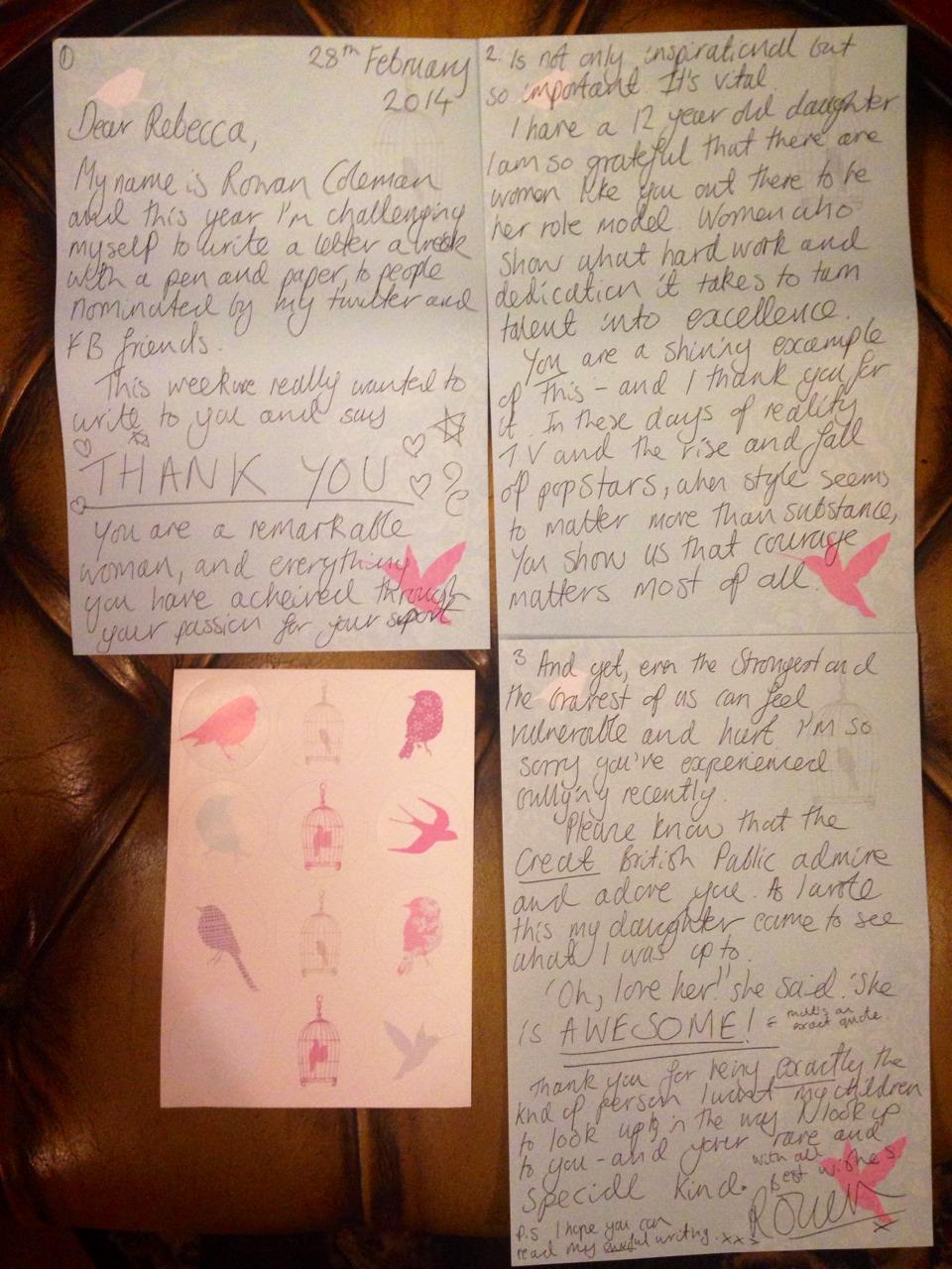 Rebecca Adlington Letter