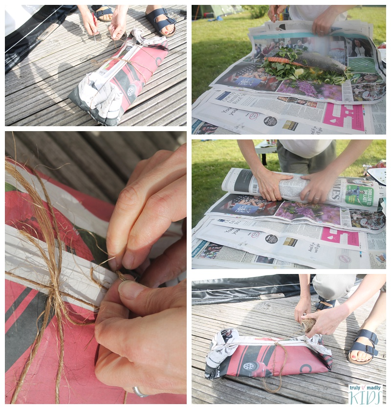 salmon cooked in newspaper, campfire recipes. salmon campfire