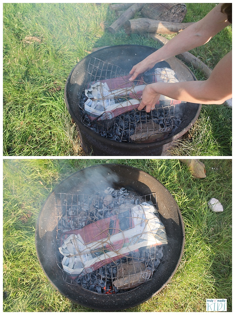 camp fire, camp fire recipes, salmon wrapped in newspaper. campfire recipes. campfire cooking
