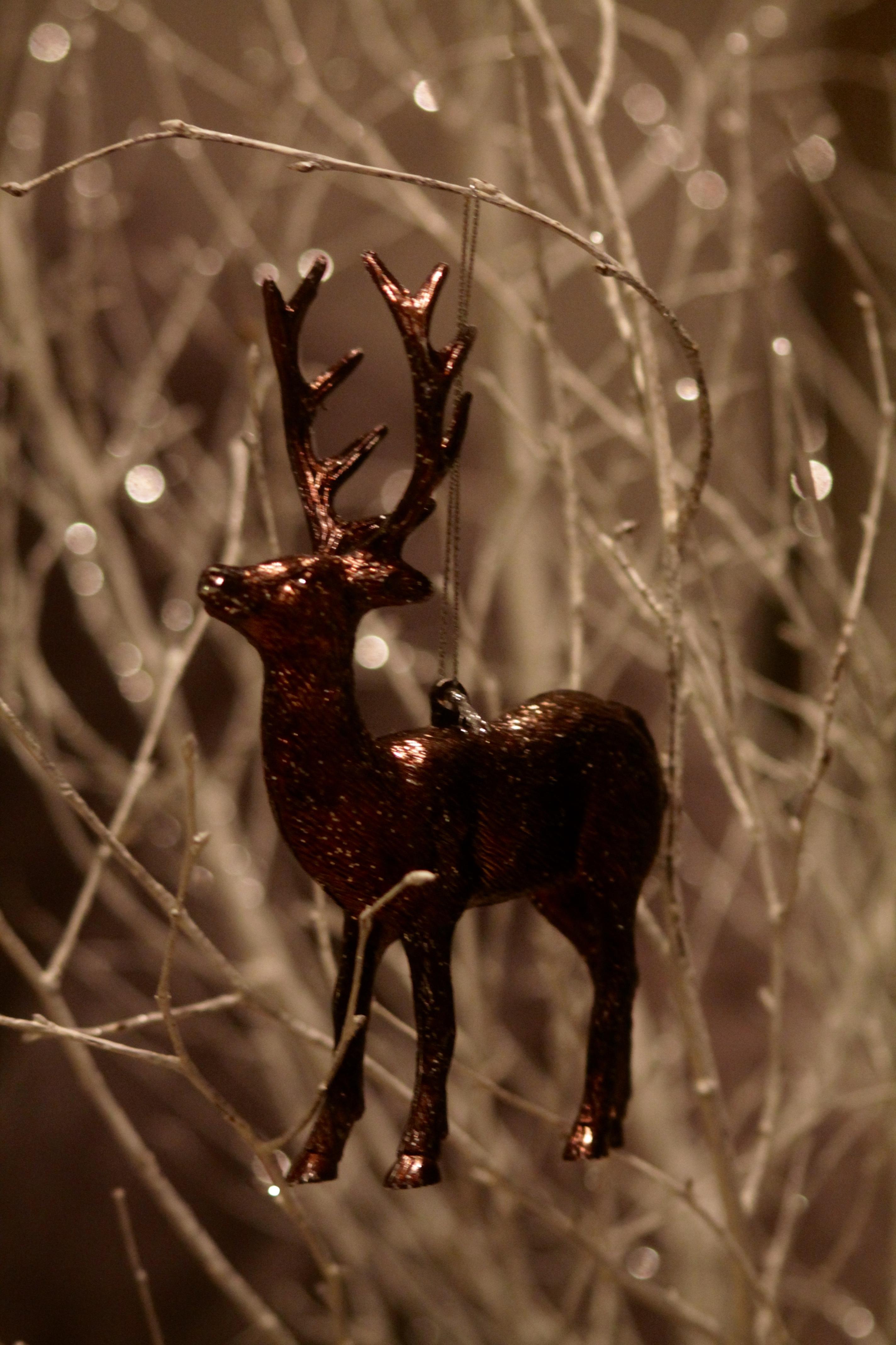 Christmas deer ornament, christmas ornament, christmas bokeh,