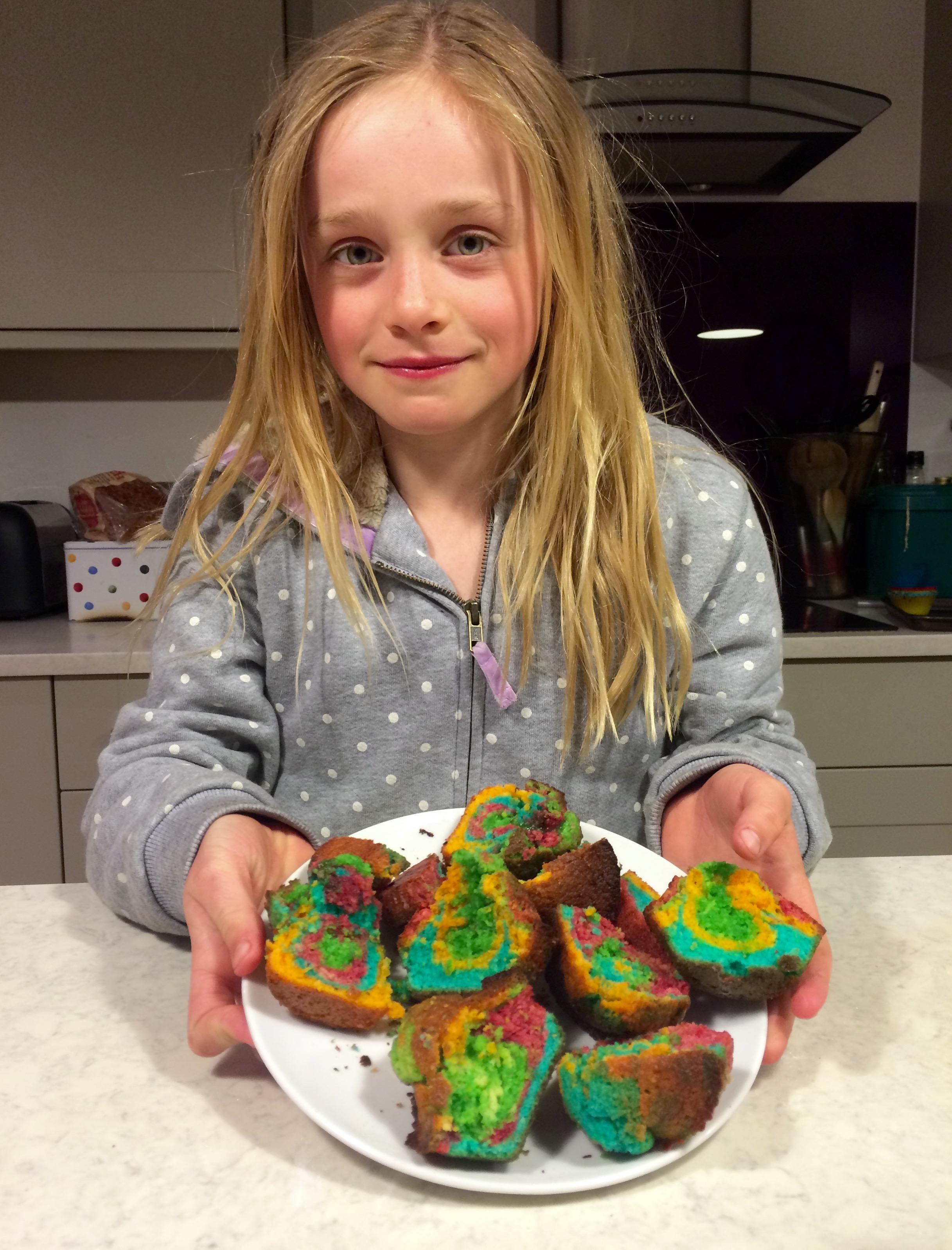 rainbow cupcakes,
